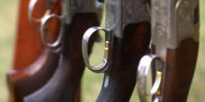 shotguns in a shotgun rack